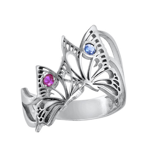 Silver Butterfly Ring with Birthstones - 2