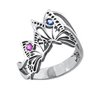 Silver Butterfly Ring with Birthstones