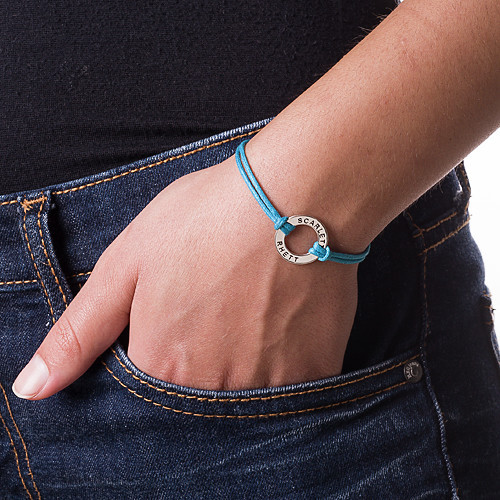Silver Circle Bracelet with Leather Style Cord - 2