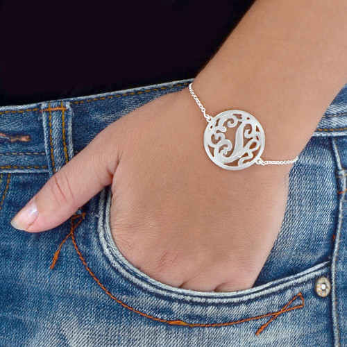 Silver Circle Monogram Bracelet 1