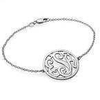 Silver Circle Monogram Bracelet
