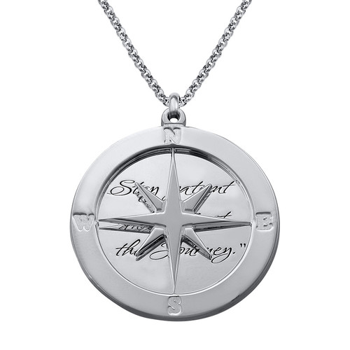 Silver Compass Necklace with Engraving