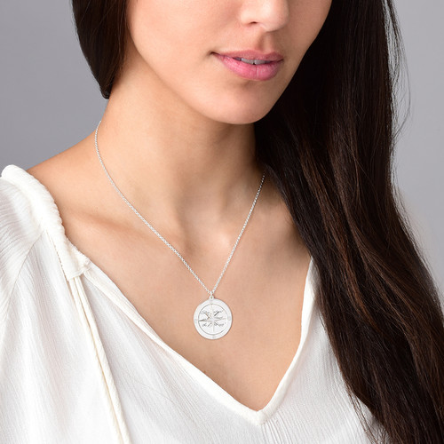 Silver Compass Necklace with Engraving - 2