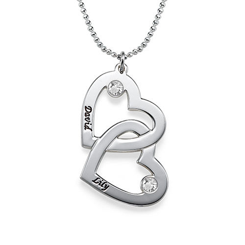 Silver Heart in Heart Necklace with Birthstones - 1