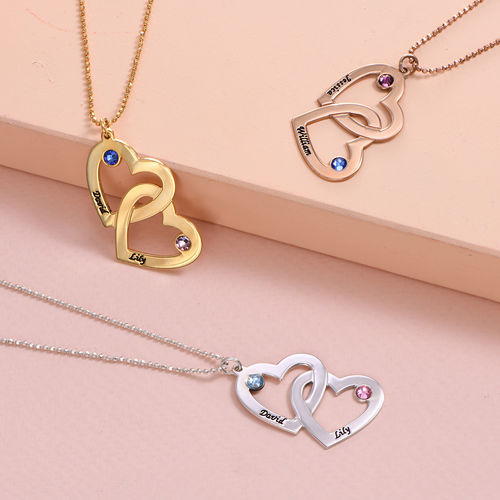 Silver Heart in Heart Necklace with Birthstones - 2