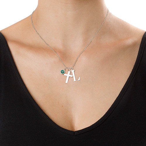 Silver Cross Necklace with Initial - 1