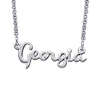 Signature Silver Cursive Name Necklace