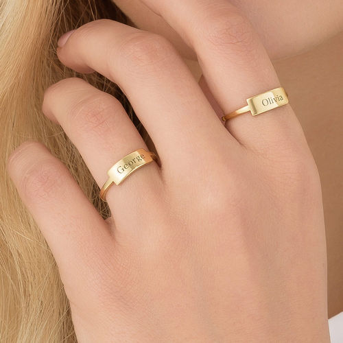 Silver Engraved Nameplate Ring - Gold Plated - 3
