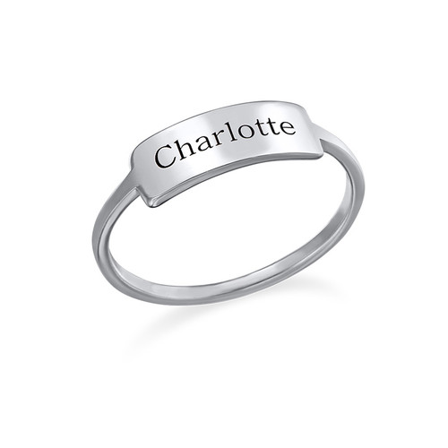 Silver Engraved Nameplate Ring