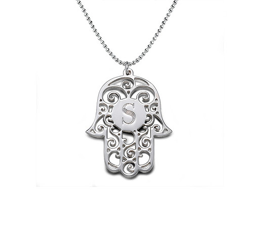 Silver Hamsa Necklace with Personalized Initial