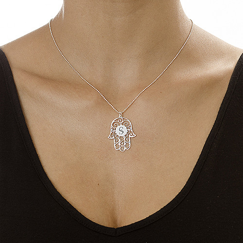 Silver Hamsa Necklace with Personalized Initial - 1