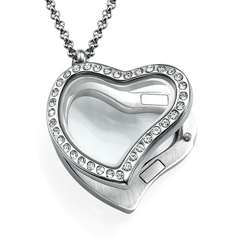 Silver Heart Locket with Crystals - 1