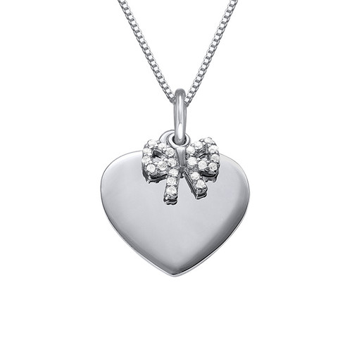 Silver Heart Necklace with Bow Charm