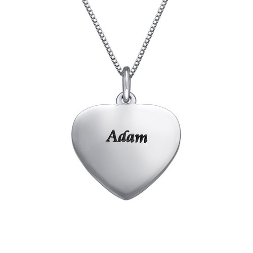 Silver Heart Necklace with Bow Charm - 1