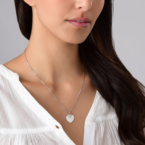 Silver Heart Necklace with Bow Charm - 2