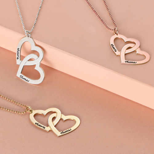 Silver Heart in Heart Necklace - 1