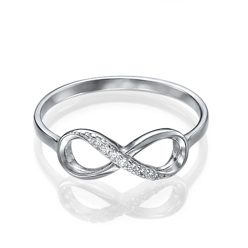 Silver Infinity Ring with Cubic Zirconia - 1