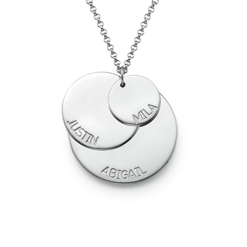 Silver Mom Necklace with Kid's Names - 1