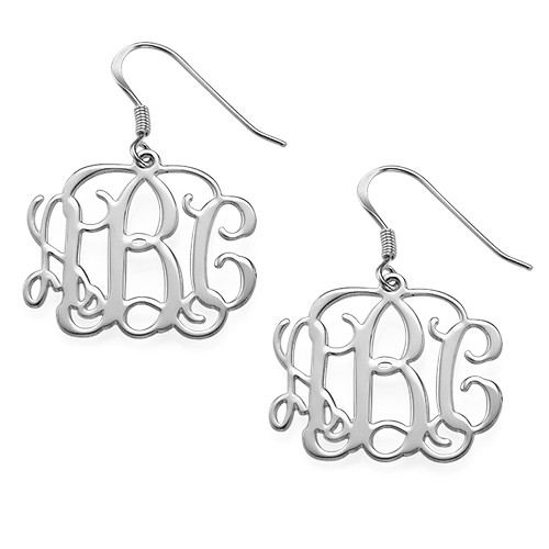 be earrings sterling grande silver cutout monogram monogrammed products