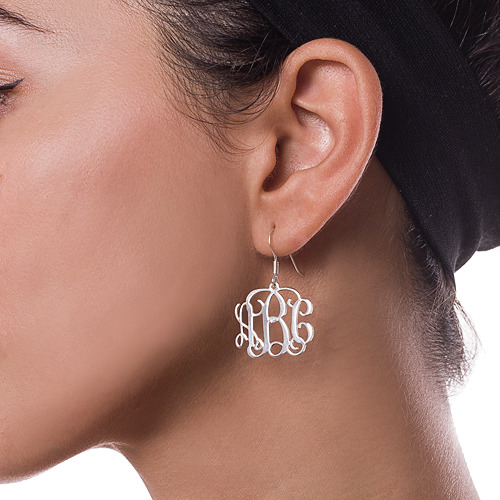 Silver Monogram Earrings - 1