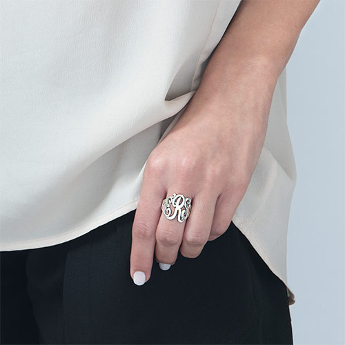 Silver Monogrammed Ring - 1