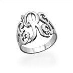 Silver Monogrammed Ring
