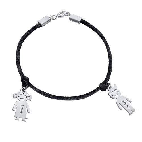 Silver Mothers Bracelet with Engraved Children Charms