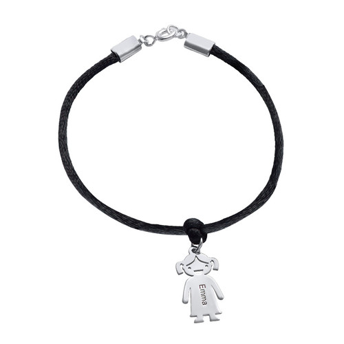 Silver Mothers Bracelet with Engraved Children Charms - 2