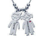 Silver Mother's Necklace - Children Charms with Cubic Zirconia