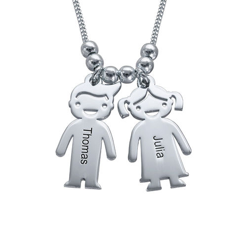 Silver Mother's Necklace with Children Charms