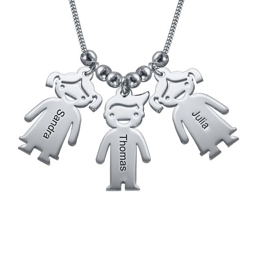 Silver Mother's Necklace with Children Charms - 1