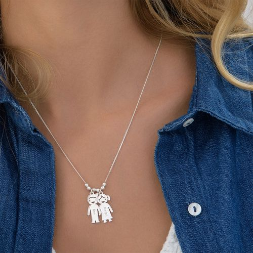 Silver Mother's Necklace with Children Charms - 4