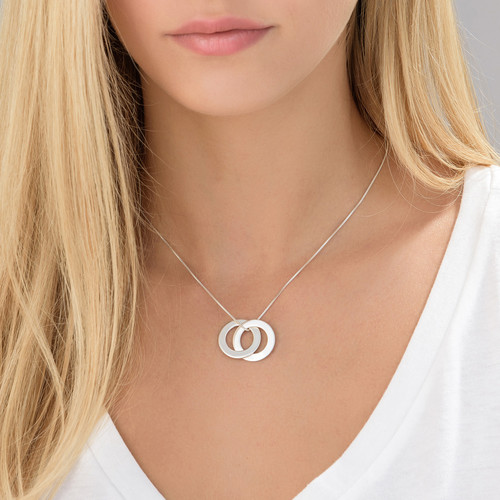 Silver Russian Ring Necklace with 2 Rings - 1
