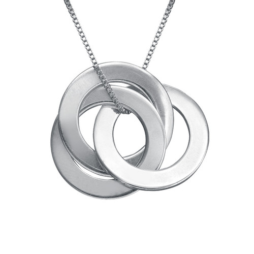 Silver Russian Ring Necklace with 3 Rings
