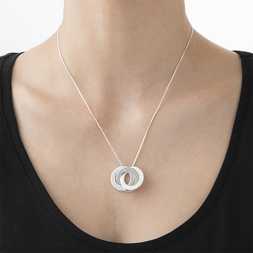 Silver Russian Ring Necklace with 3 Rings - 1