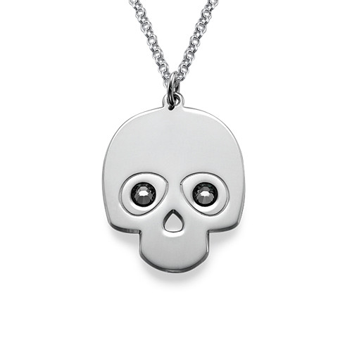 Silver Skull Necklace with Crystal Stones