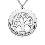 Silver Tree of Life Necklace with Engraving