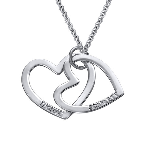 Silver Two Heart Necklace - 1