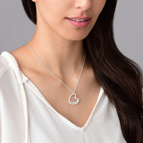 Silver Two Heart Necklace - 2