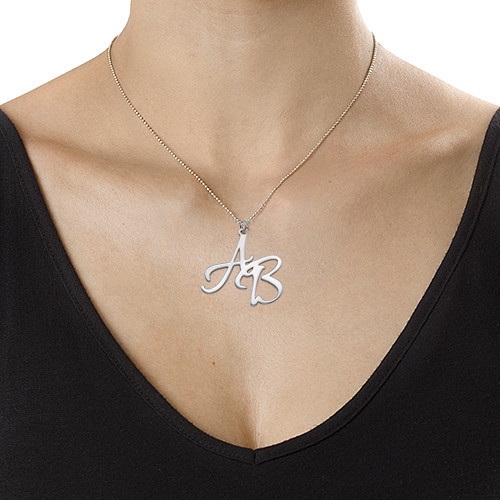 Silver Two Initial Necklace - 2