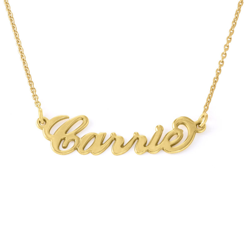"Small 18k Gold-Plated Silver ""Carrie"" Name Necklace"