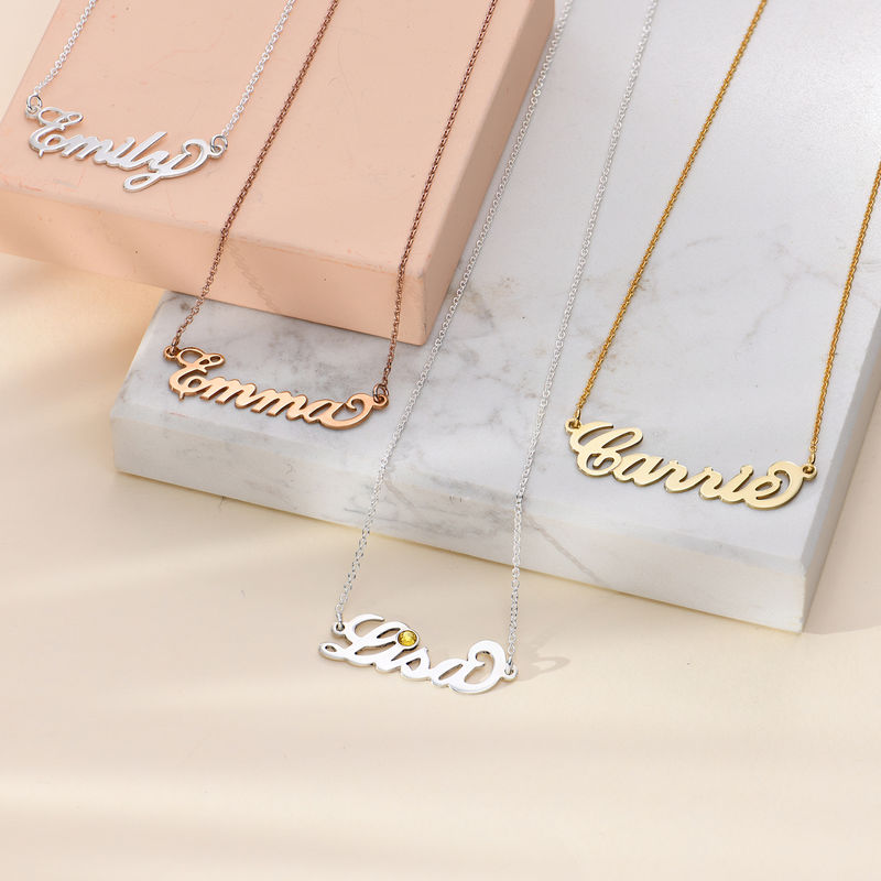 "Small 18k Gold-Plated Silver ""Carrie"" Name Necklace - 2"