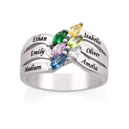 Six Stone Mothers Ring in Silver - 1