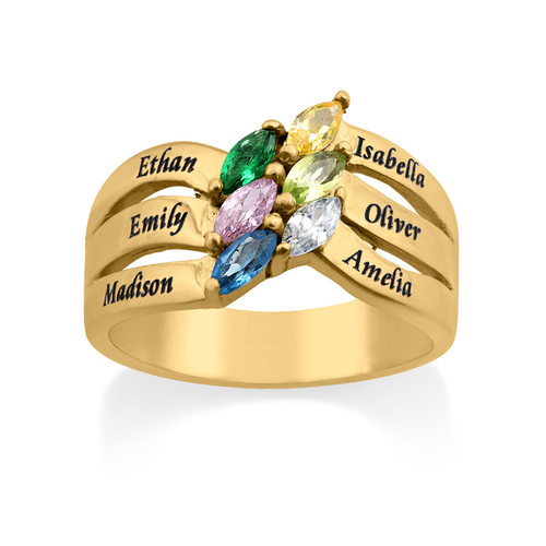 Six Stone Mothers Ring with Gold Plating - 1