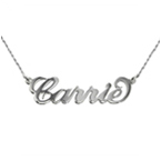 Small 14k White Gold Carrie Name Necklace Twist Chain