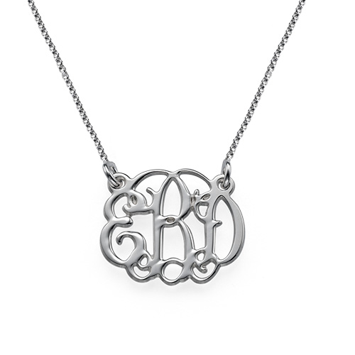 Small Celebrity Monogram Necklace in Sterling Silver