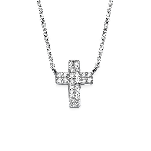 Small Cross Necklace with Cubic Zirconia