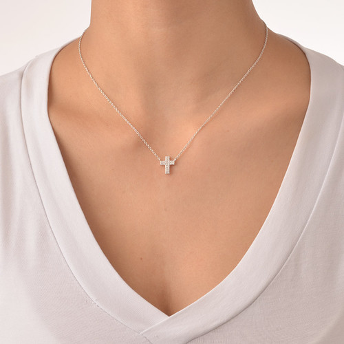 Small Cross Necklace with Cubic Zirconia - 1