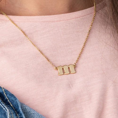 Small Initial Necklace in 18k Gold Plating - 2