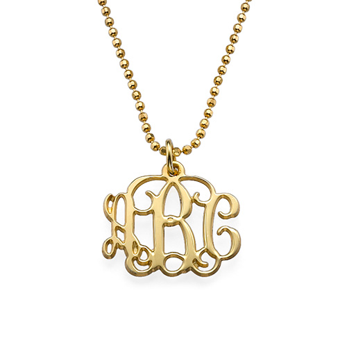 Small Monogram Necklace in 18k Gold Plating
